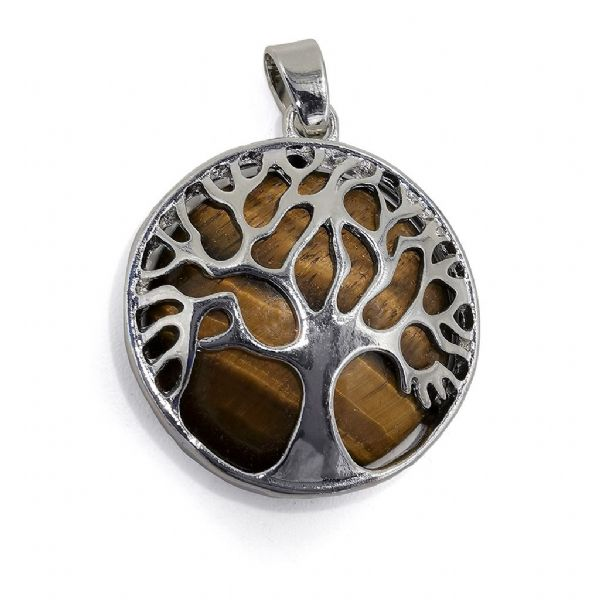 Rhodium Plated Tigers Eye Tree of Life Pendant 27mm x 31mm